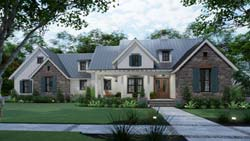 Modern-Farmhouse Style Home Design Plan: 61-221