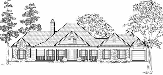 Southern Style Home Design Plan: 62-136