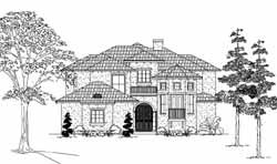 Spanish Style Home Design Plan: 62-190