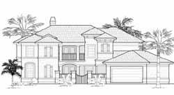 Mediterranean Style Home Design Plan: 62-244