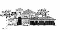Mediterranean Style Home Design Plan: 62-266