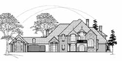 French-Country Style Home Design Plan: 62-431