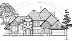 French-Country Style Home Design Plan: 62-454