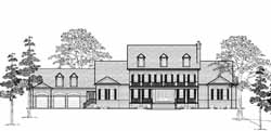 Southern-Colonial Style Home Design Plan: 62-479