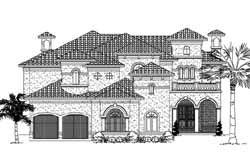 Spanish Style Home Design Plan: 62-482