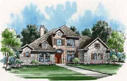 European Style Home Design Plan: 63-132