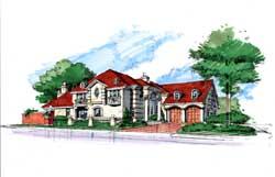 Mediterranean Style Home Design Plan: 63-167