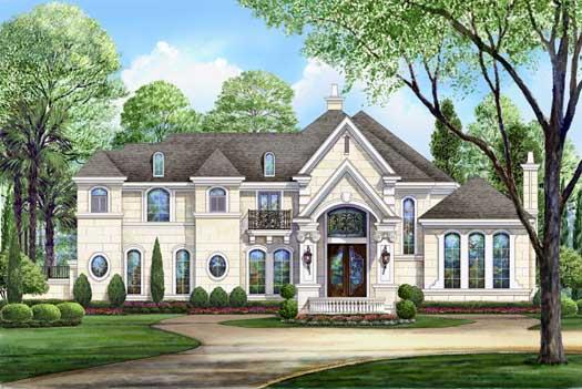 European Style Home Design Plan: 63-250