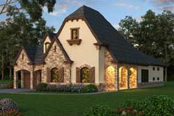 French-Country Style Home Design Plan: 63-274
