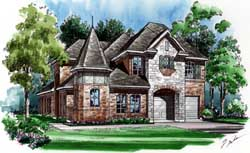 European Style Home Design Plan: 63-284