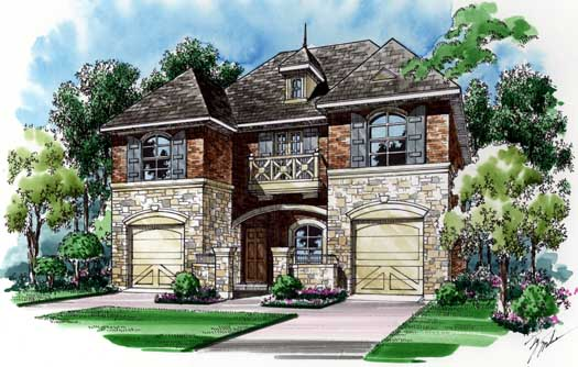 European Style Home Design Plan: 63-285