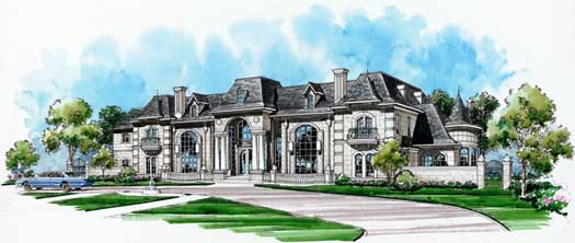 French-country Style Home Design Plan: 63-308