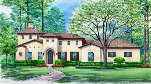 Tuscan Style Home Design Plan: 63-315