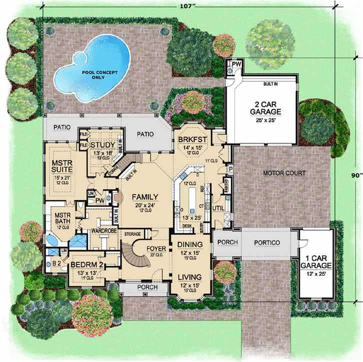 English-country House Plan - 5 Bedrooms, 5 Bath, 5518 Sq Ft ...