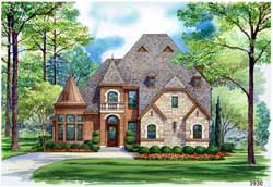 English-Country Style Home Design Plan: 63-326