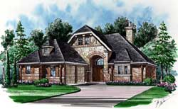 European Style Home Design Plan: 63-328