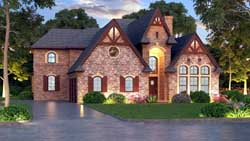 English-Country Style Home Design Plan: 63-383