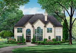 European Style Home Design Plan: 63-555