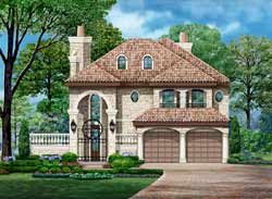 European Style Home Design Plan: 63-560