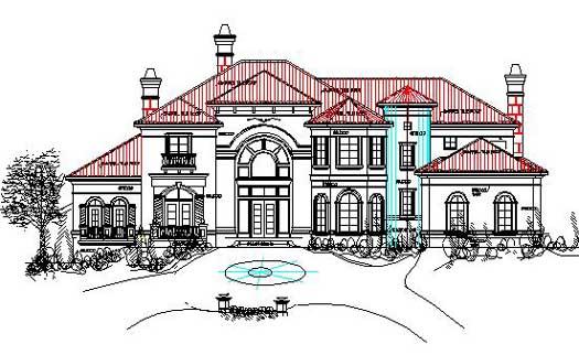 Mediterranean Style Home Design Plan: 66-234