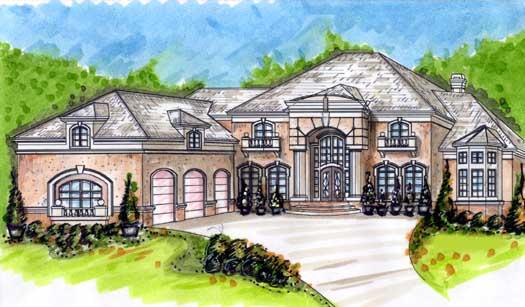European Style Home Design Plan: 66-328