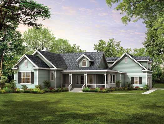 Farm Style Home Design Plan: 68-132