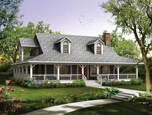 Farm Style Home Design Plan: 68-134