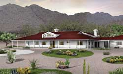 Southwest Style Home Design Plan: 68-137