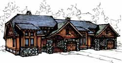 Mountain-or-Rustic Style Floor Plans Plan: 69-911