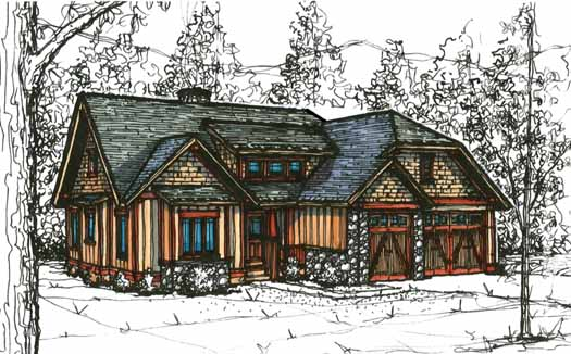 Bungalow Style Home Design Plan: 69-917