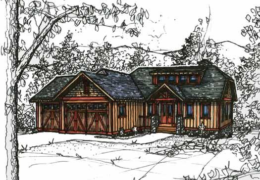 Craftsman Style Home Design Plan: 69-920