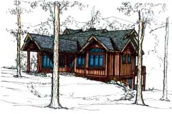 Mountain-or-Rustic Style Home Design Plan: 69-933