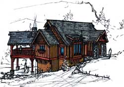 Mountain-or-Rustic Style Floor Plans Plan: 69-935