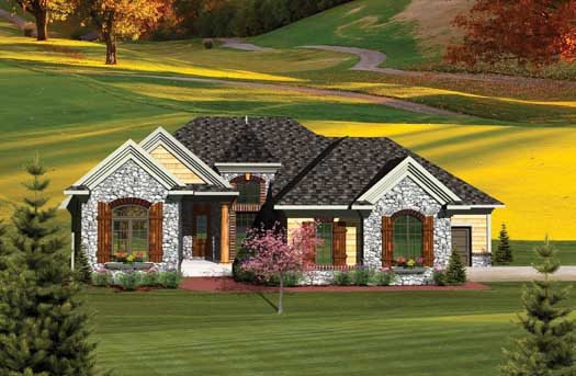 French-country Style Home Design Plan: 7-1055