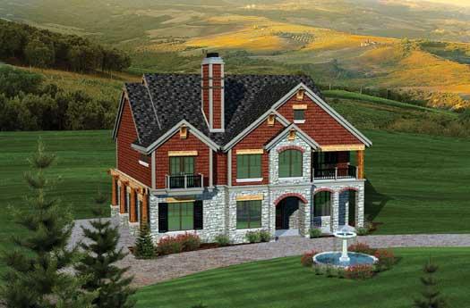 European Style House Plans Plan: 7-1057