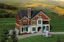 European Style Home Design Plan: 7-1057