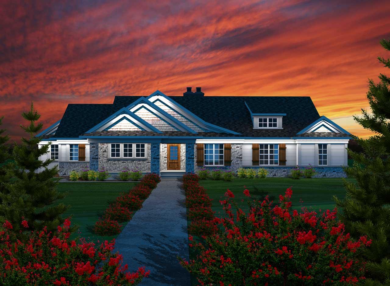 Craftsman Style Home Design Plan: 7-1116