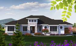 Tuscan Style Home Design Plan: 7-1196