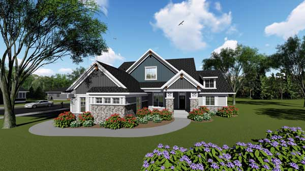 Craftsman Style Home Design Plan: 7-1286