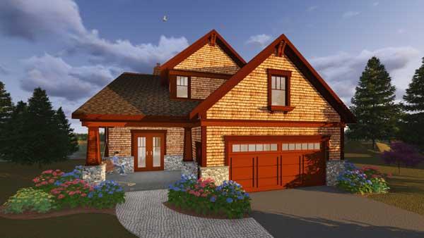 Shingle Style Home Design Plan: 7-1294