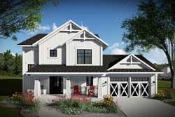 Modern-Farmhouse Style Home Design Plan: 7-1302