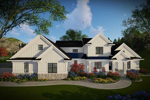 Modern-farmhouse Style Home Design Plan: 7-1317
