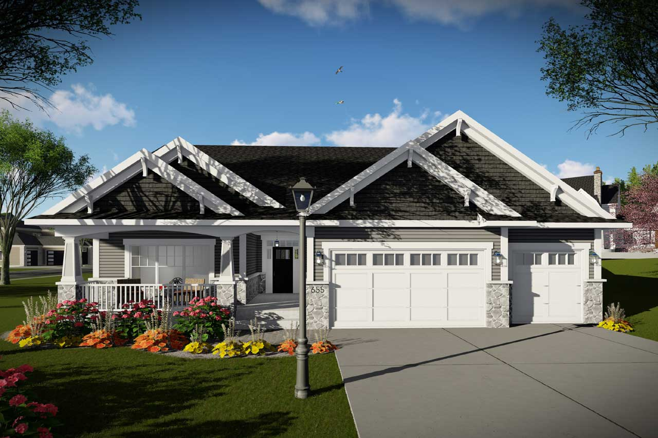 Craftsman Style Home Design Plan: 7-1336