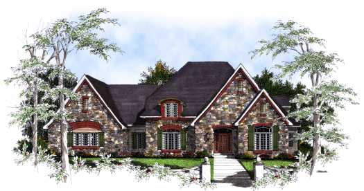 English-country Style Floor Plans Plan: 7-223