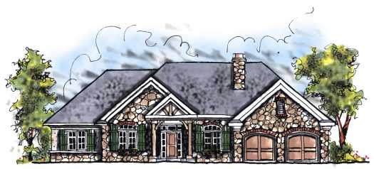 English-country Style Home Design Plan: 7-249