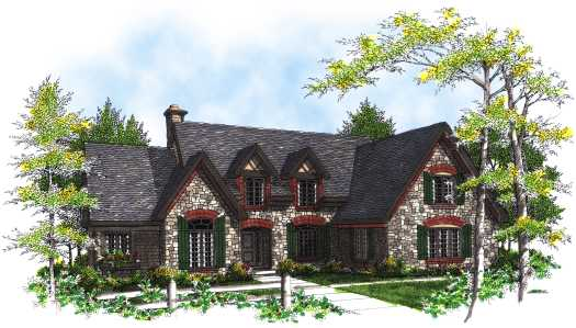 English-country Style House Plans Plan: 7-295