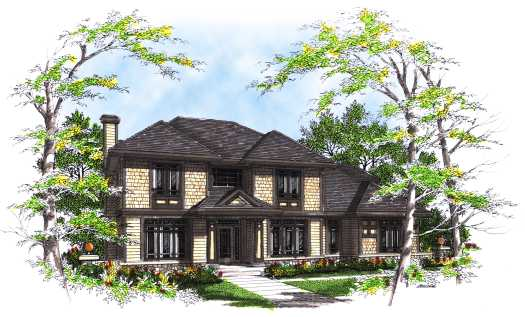 Shingle Style Home Design Plan: 7-296