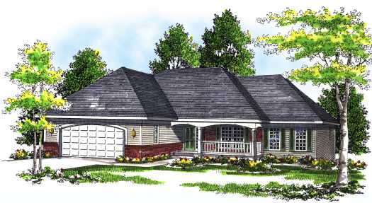 Ranch Style Home Design Plan: 7-311