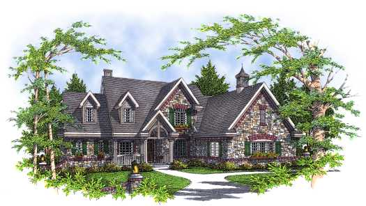 French-country Style Home Design Plan: 7-316