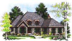 French-Country Style Home Design Plan: 7-337